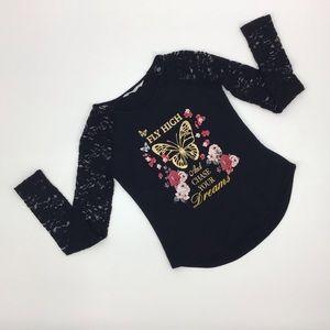 5/$25 🥁 Urban Kids Lace Sleeve Graphic T-Shirt, L